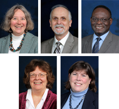 Oxford Institute attendees (top row) Lancaster, Numrich and Nyengele, (bottom row) Wallace and Withrow