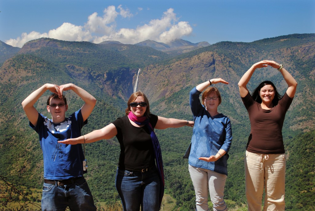 Students Nick Federinko, Melissa Zimmerman, Deborah Caulk and Rebecca Hug spell out M-T-S-O on the road to Kodaikanal. Photo by Jennifer Snyder.